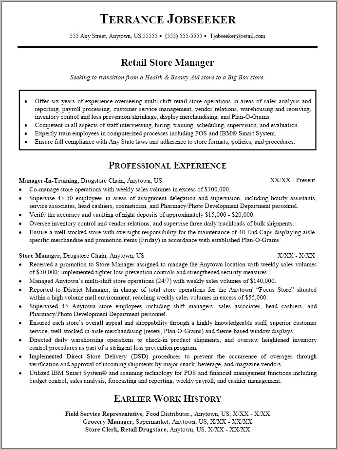 Resume Template For Sales Manager