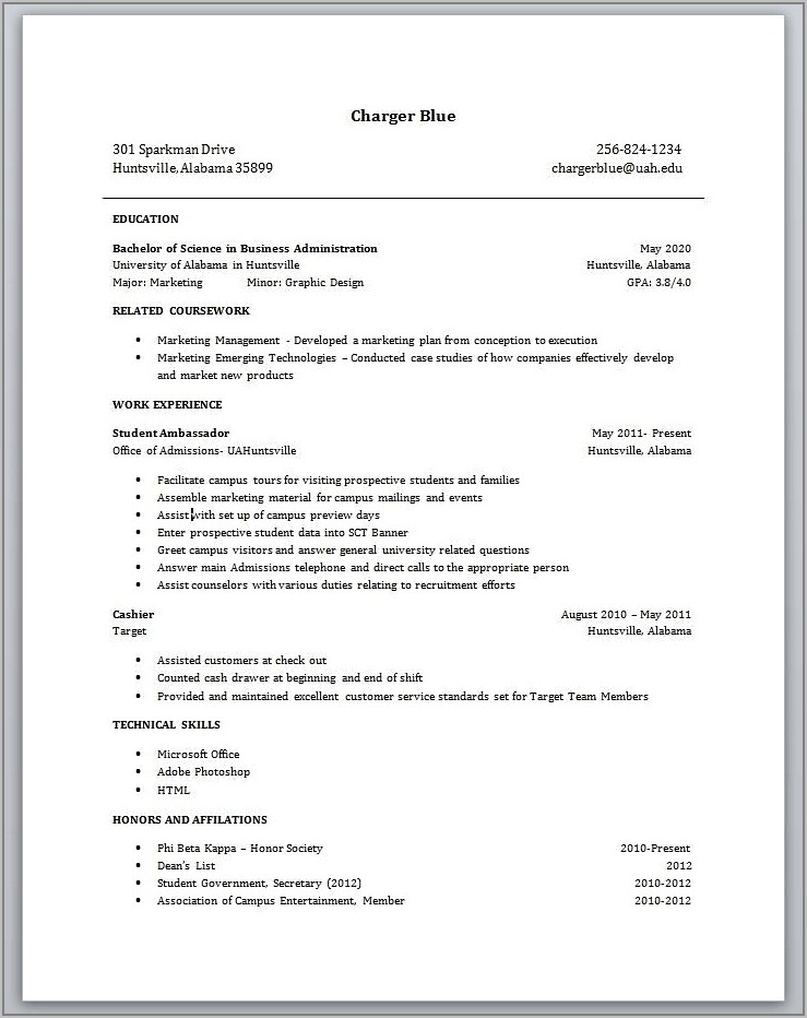 Resume Template No Experience Student