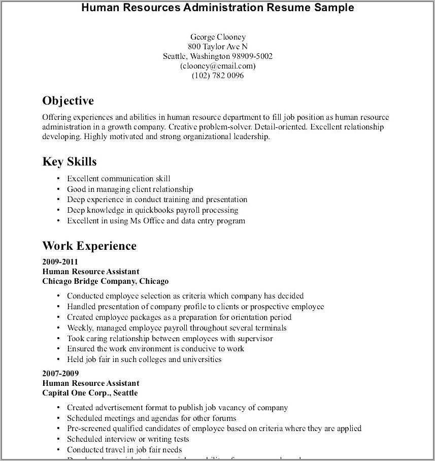 Resume Template No Work Experience