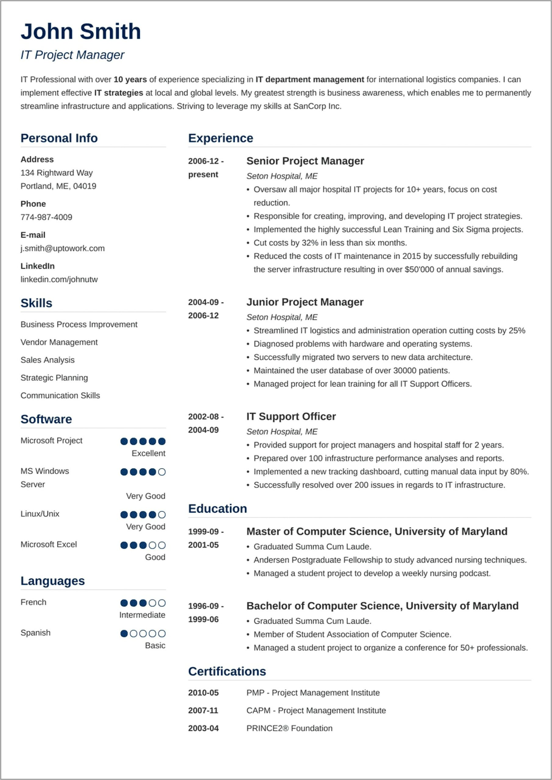 Resume Template Technical Project Manager