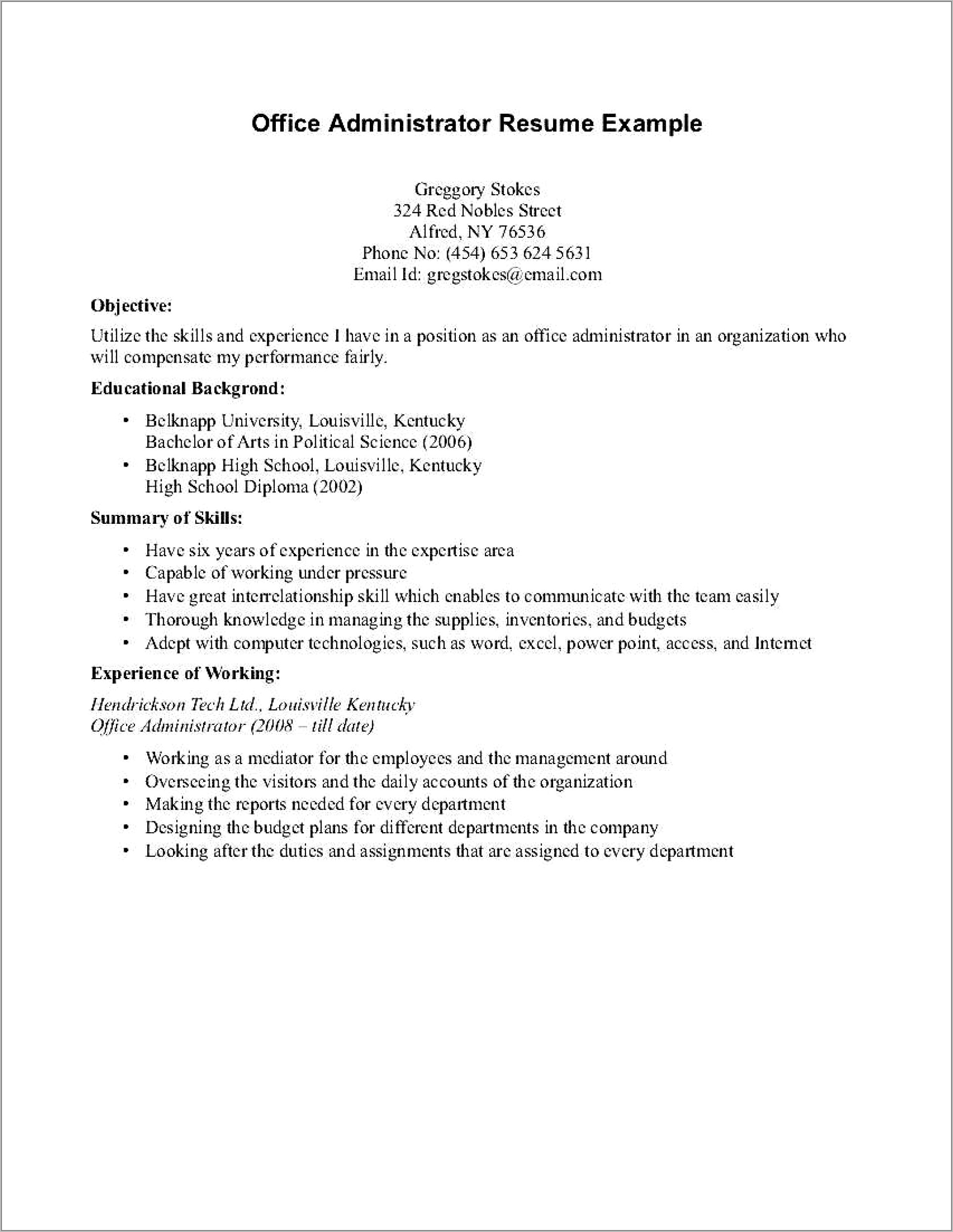 Resume Template With No Work Experience