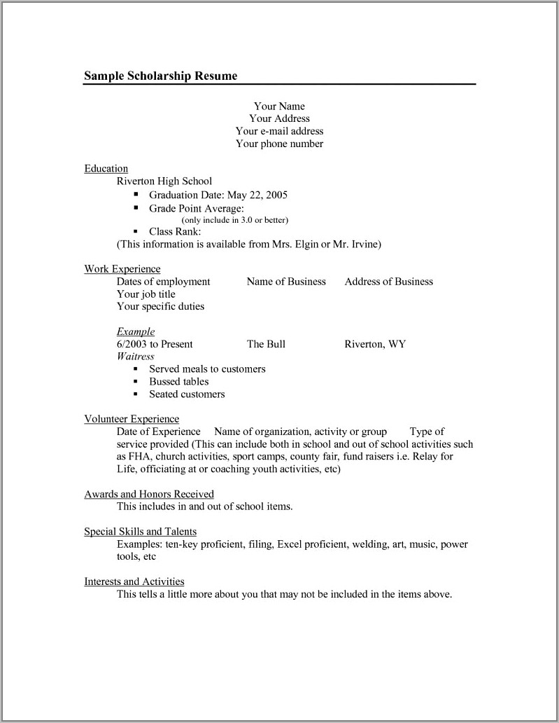 Resume Templates For Scholarships