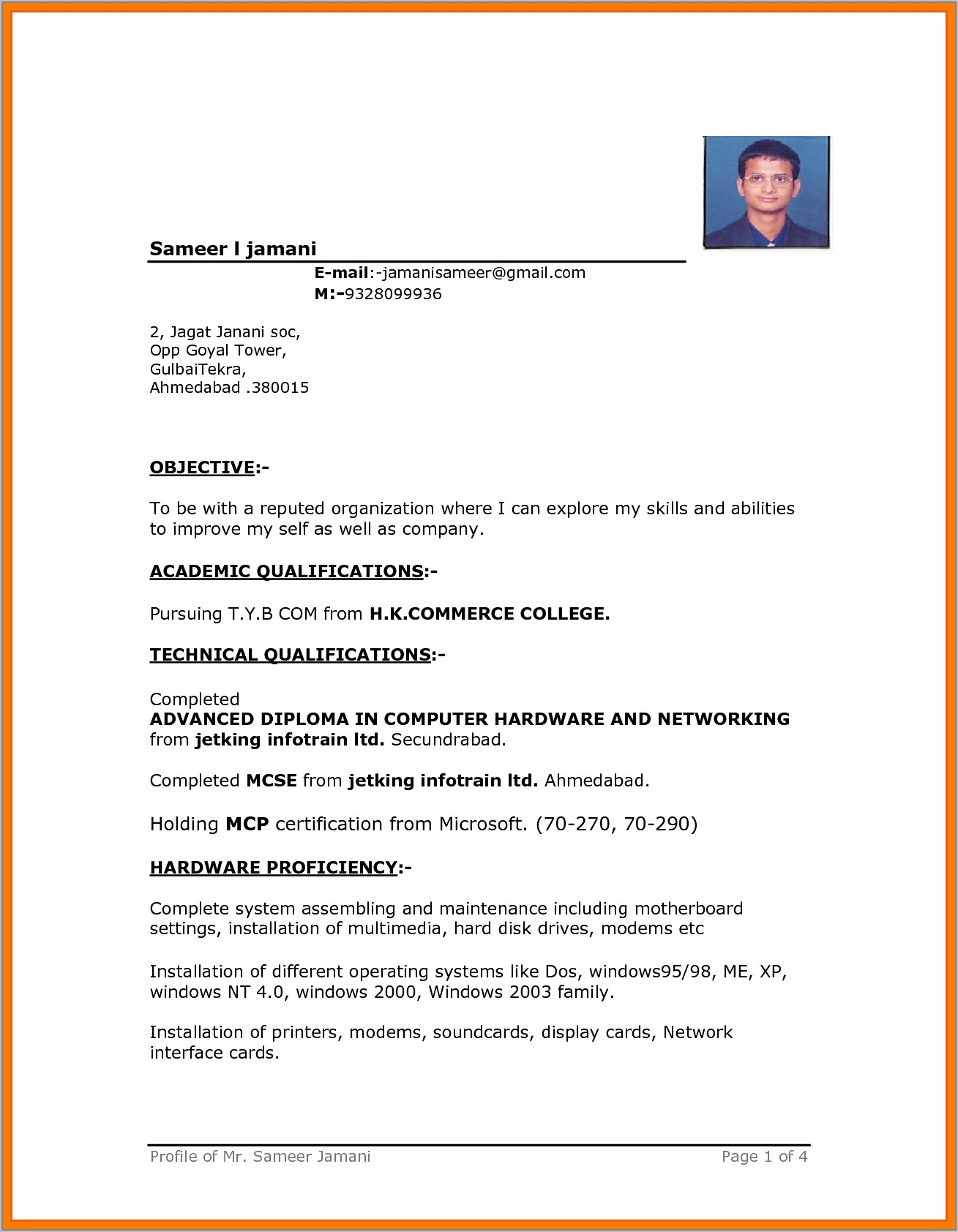 Resume Templates Free Download In Ms Word