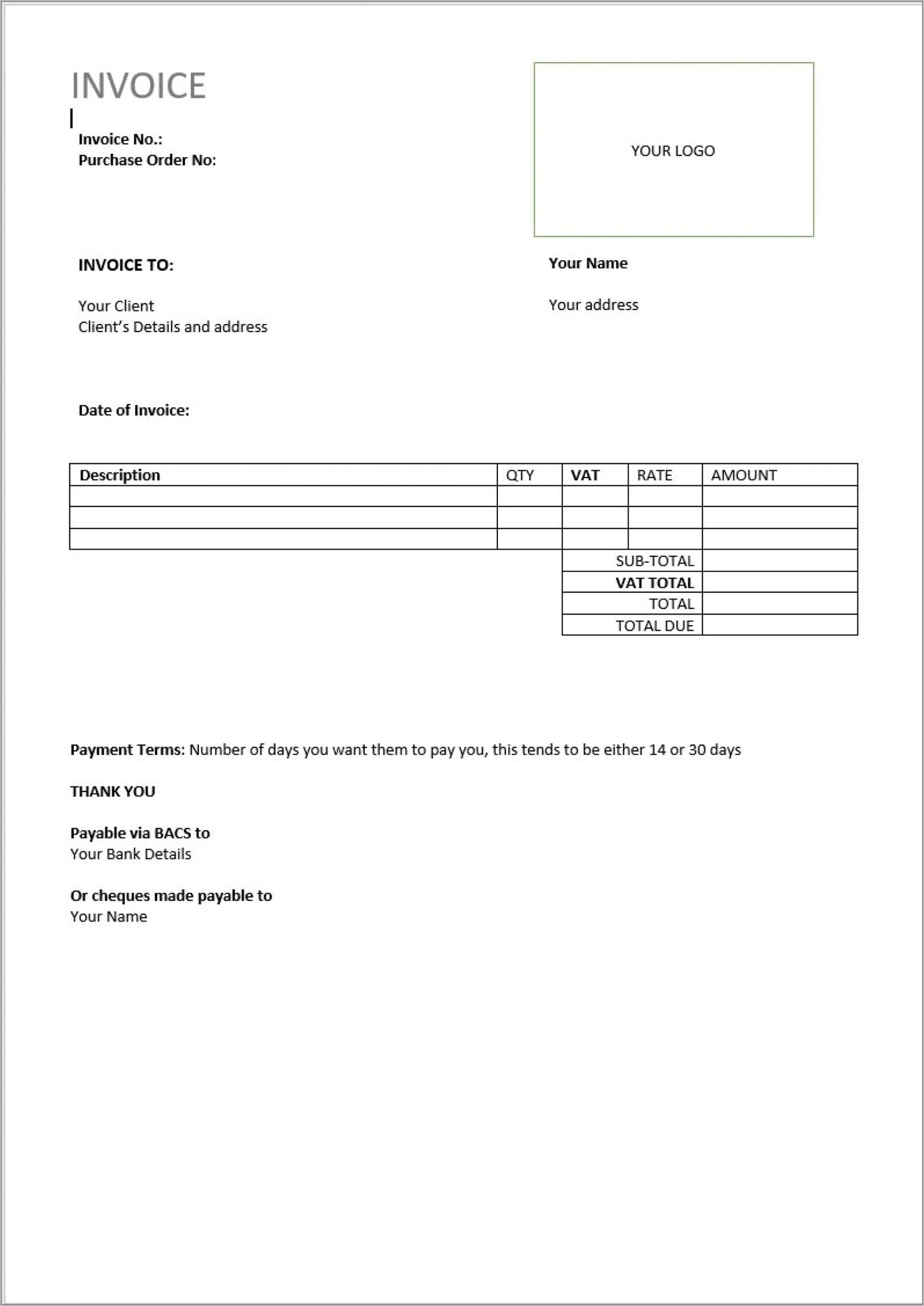Retail Invoice Format In Word