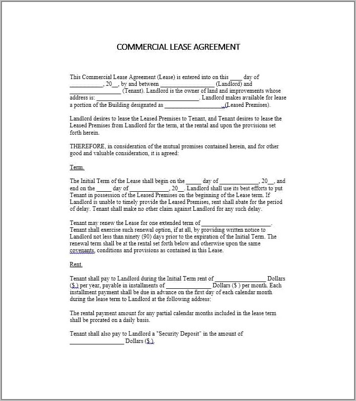 Retail Lease Agreement Example