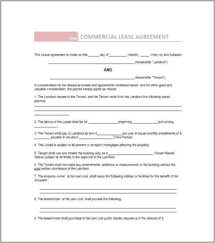 Retail Lease Agreement Template Victoria