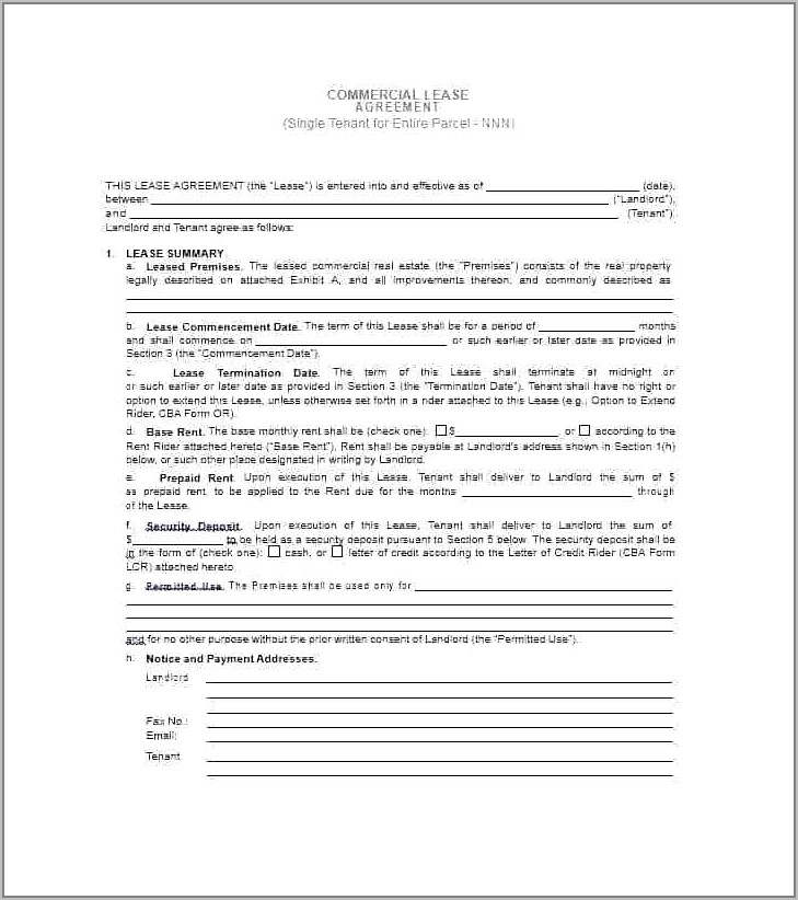 Retail Space Lease Agreement Template