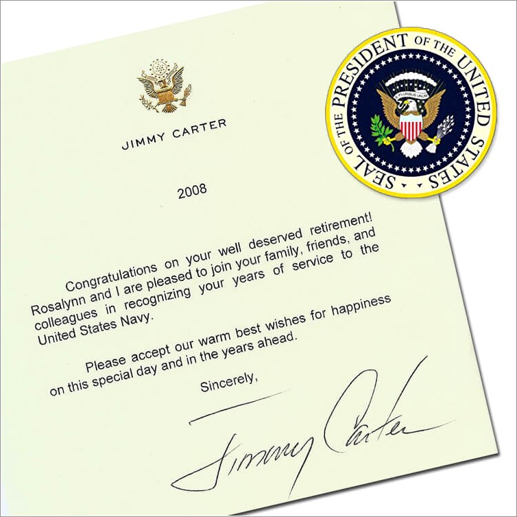 Retirement Letter Of Appreciation From The President