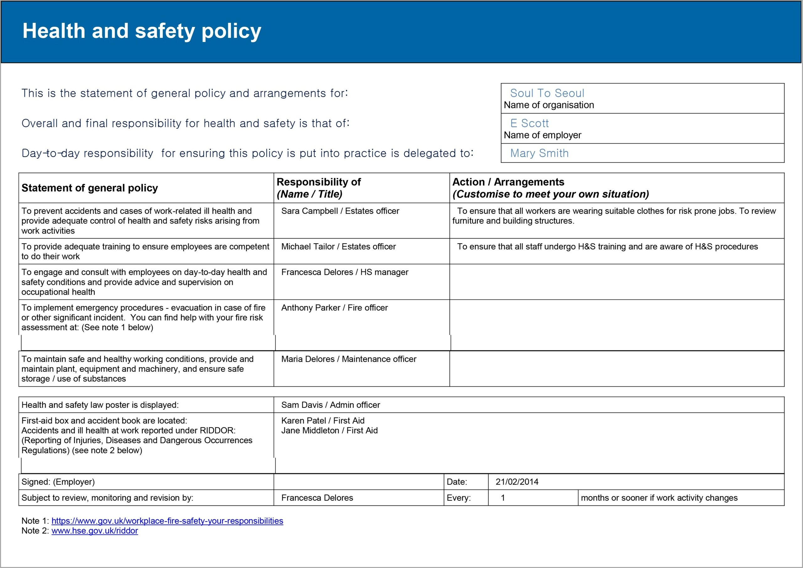 Risk Assessment Form Hse