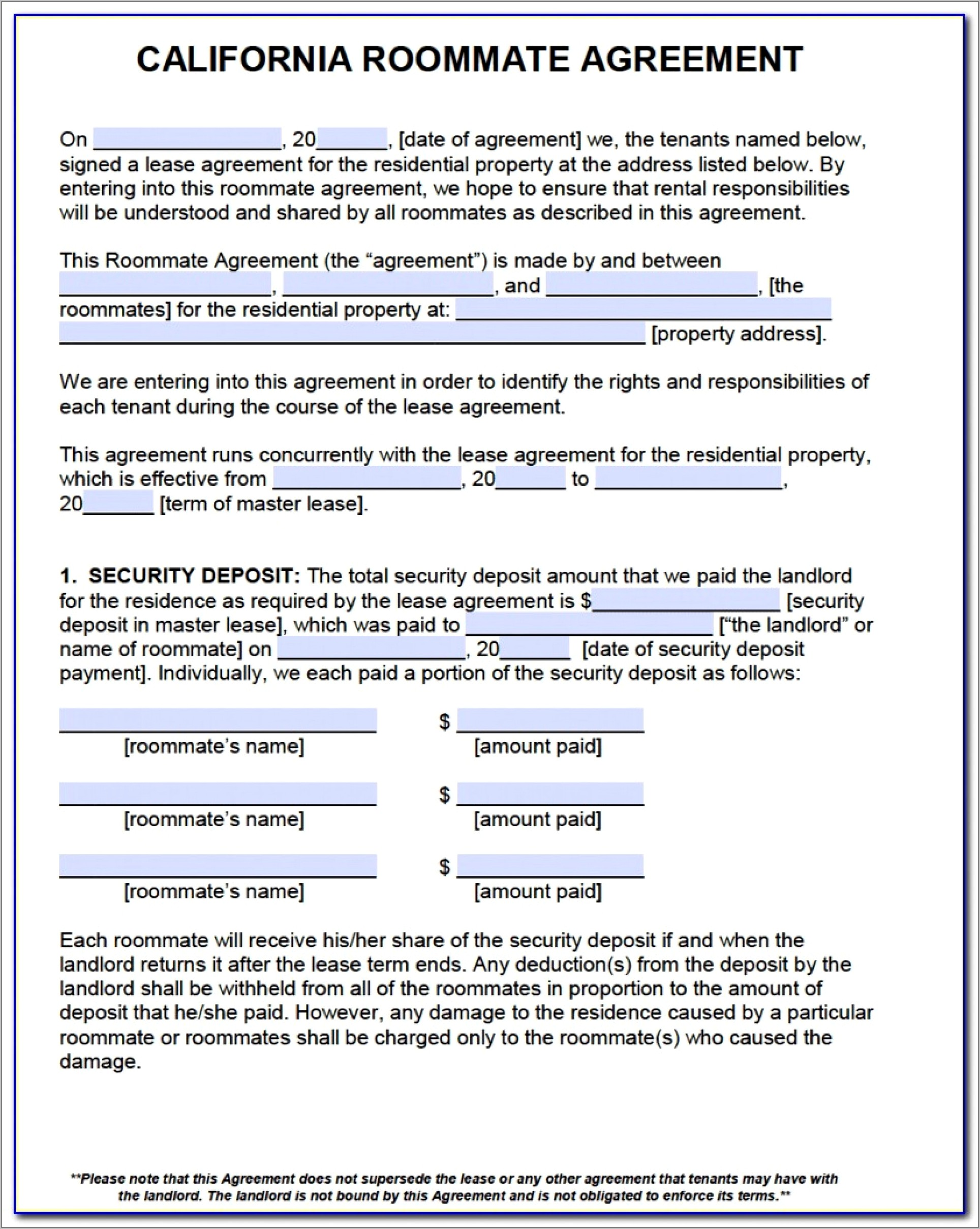 Room Lease Agreement Template California