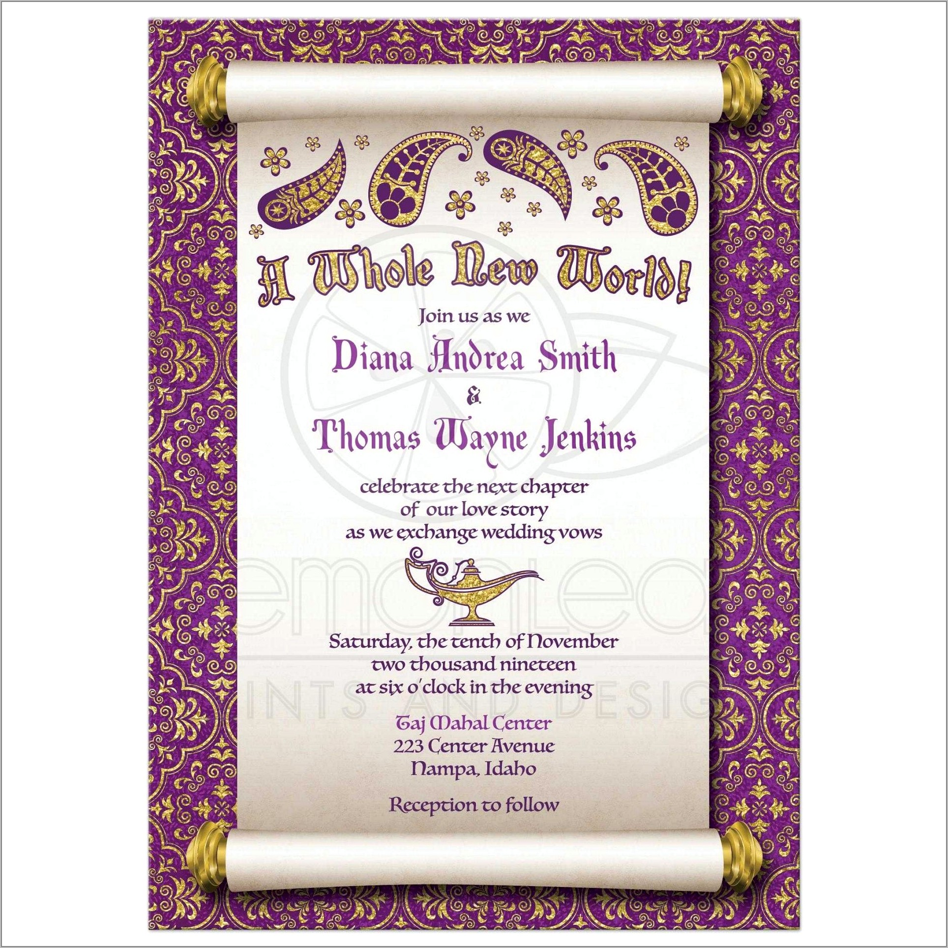 Royal Fairytale Wedding Invitation Wording