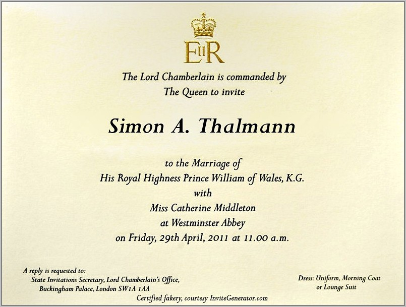 Royal Wedding Invitation Wording Ideas