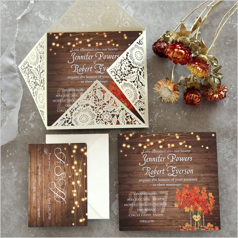 Rustic Wedding Invitations With Response Cards