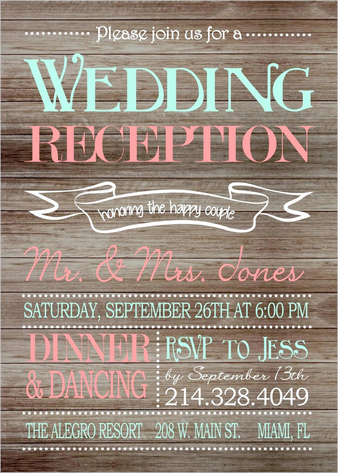 Rustic Wedding Reception Only Invitations