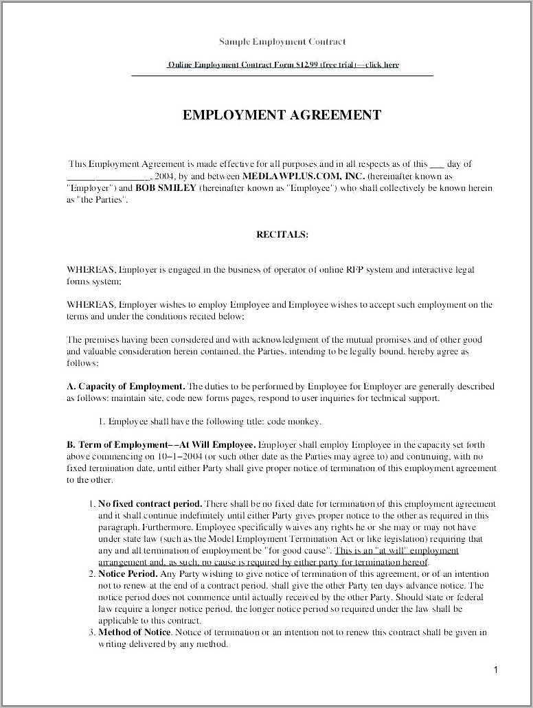 Salary Contract Template Free