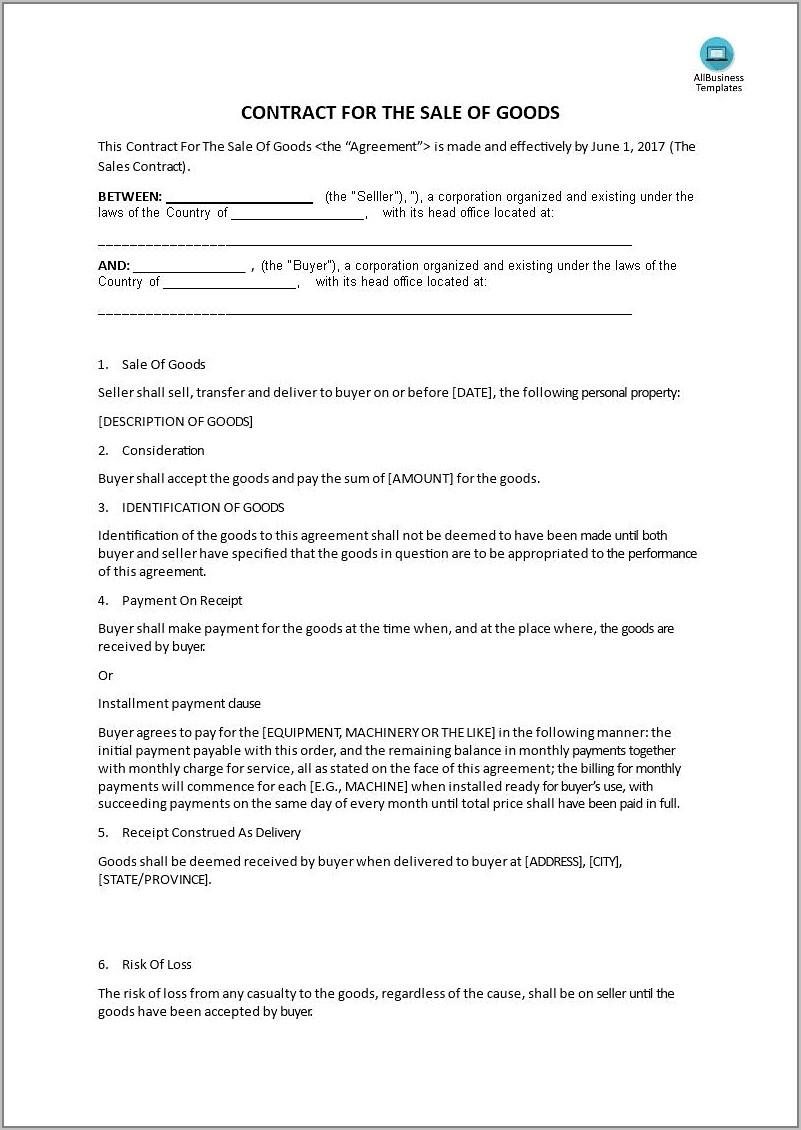 Sale Of Goods Contract Example