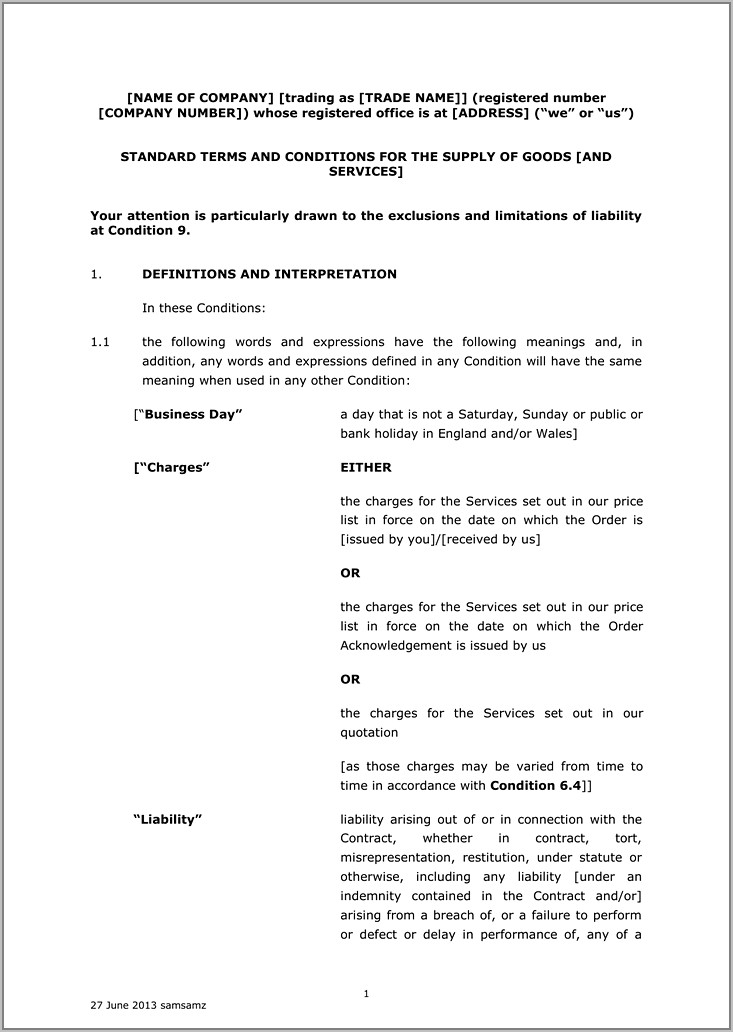 Sale Of Goods Contract Template
