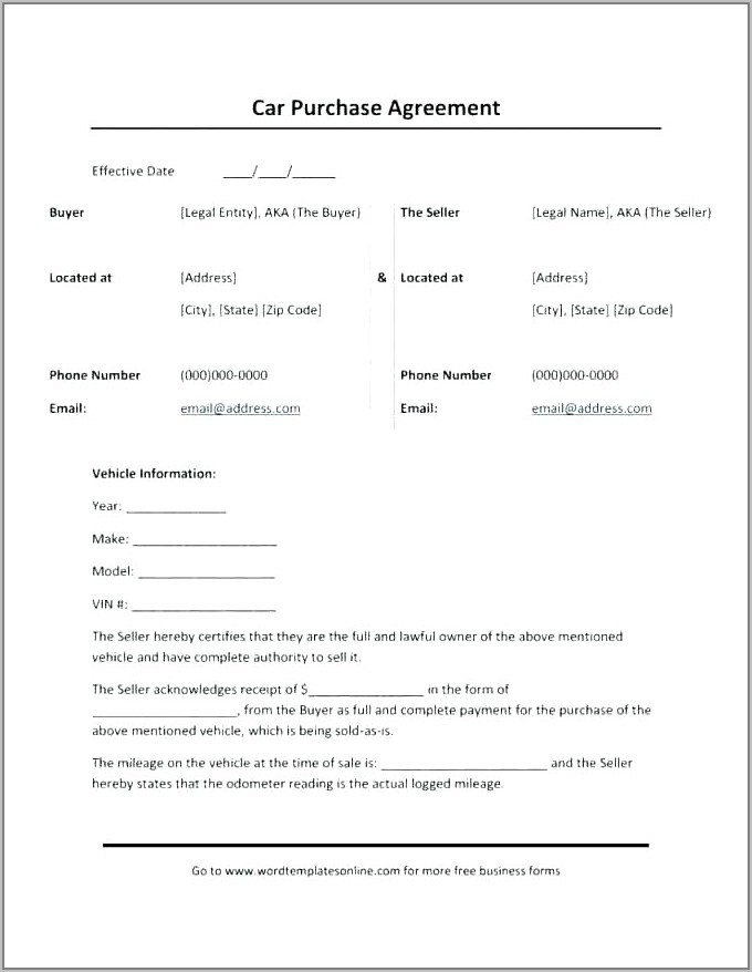 Sale Of Used Car Contract Template