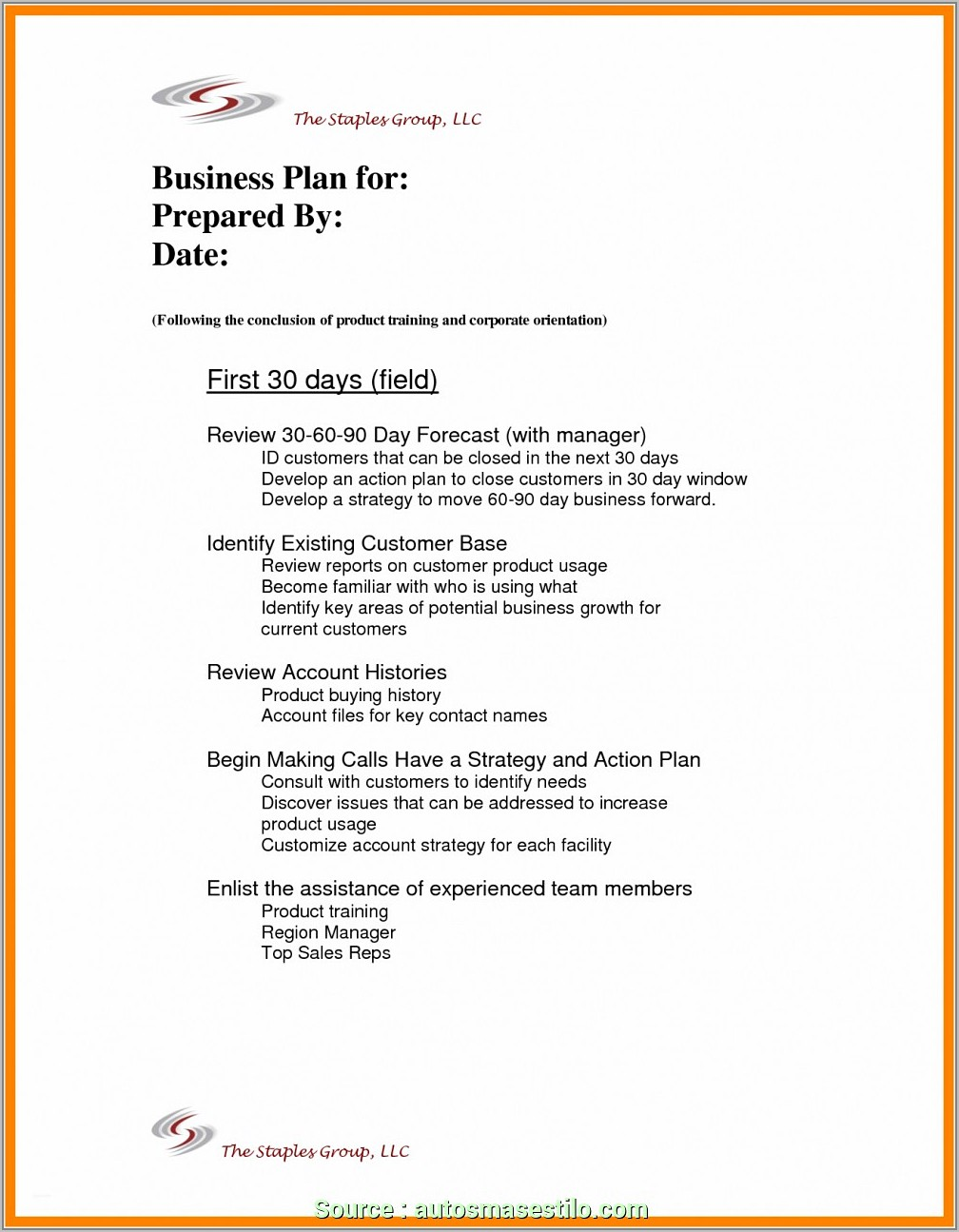 Sales Account Business Plan Template
