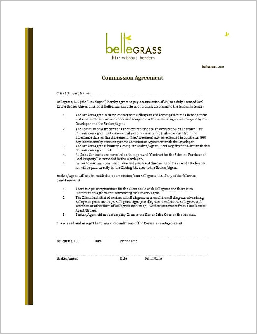 Sales Agent Contract Template Free Uk