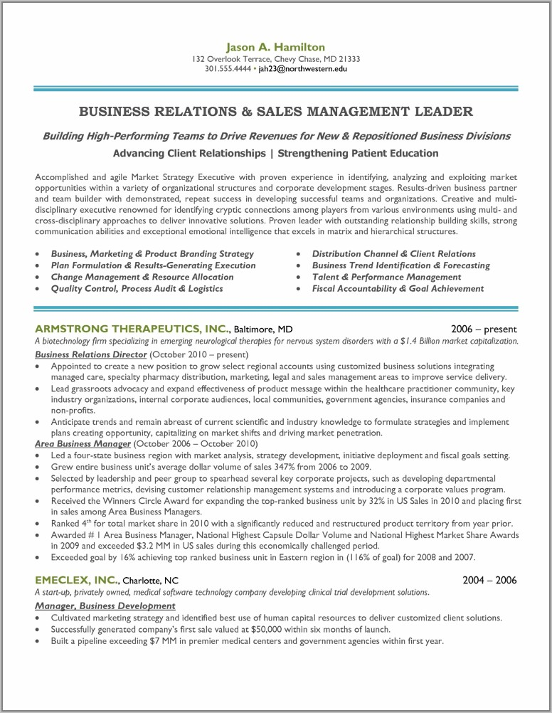 Sales And Marketing Resume Sample