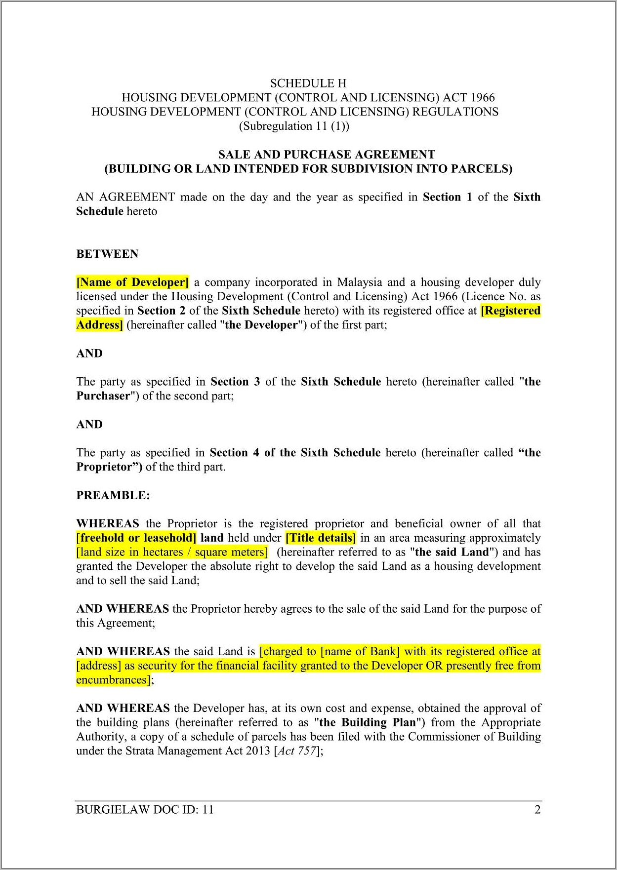 Sales And Purchase Agreement Template Malaysia