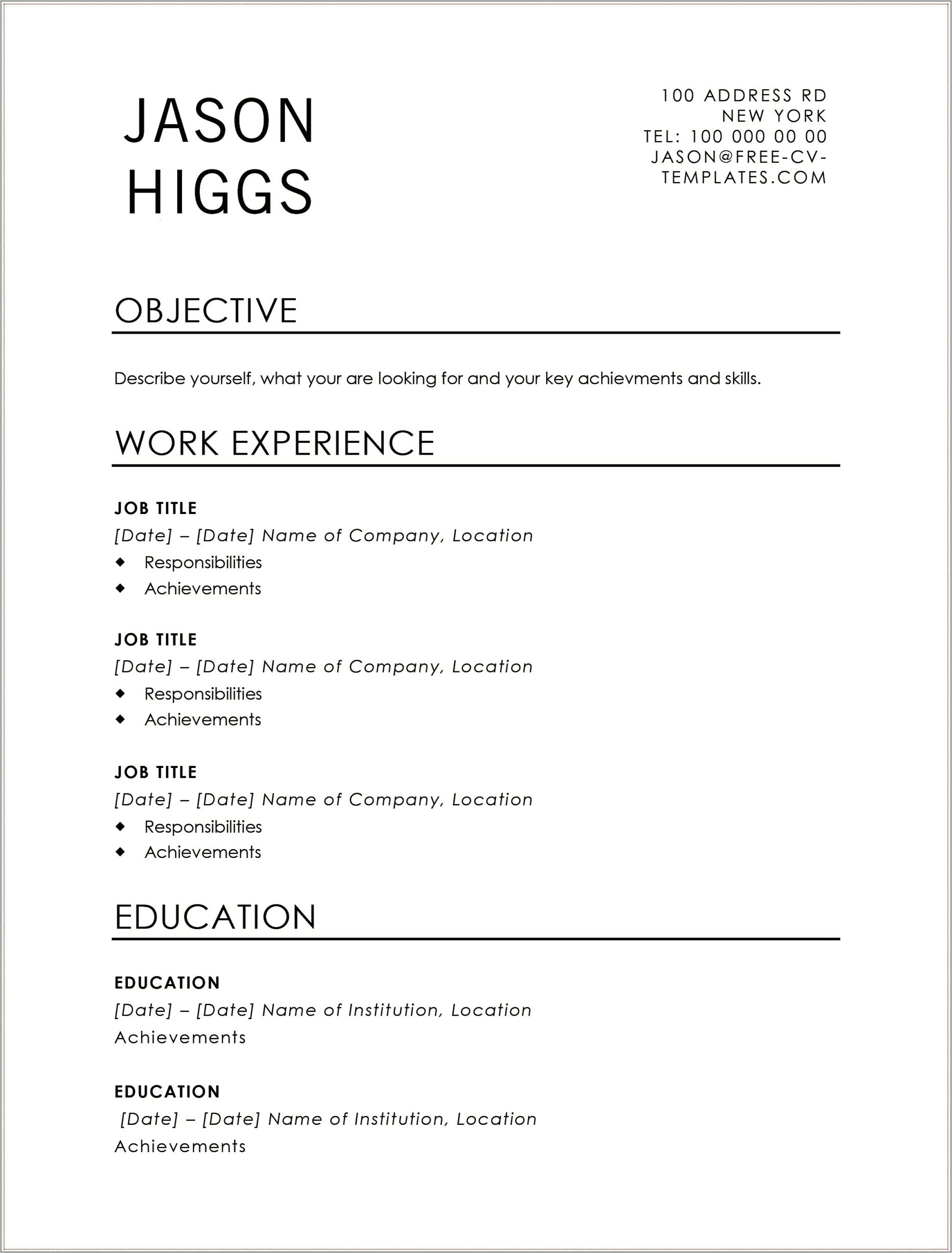 Sales Assistant Cv Template Word