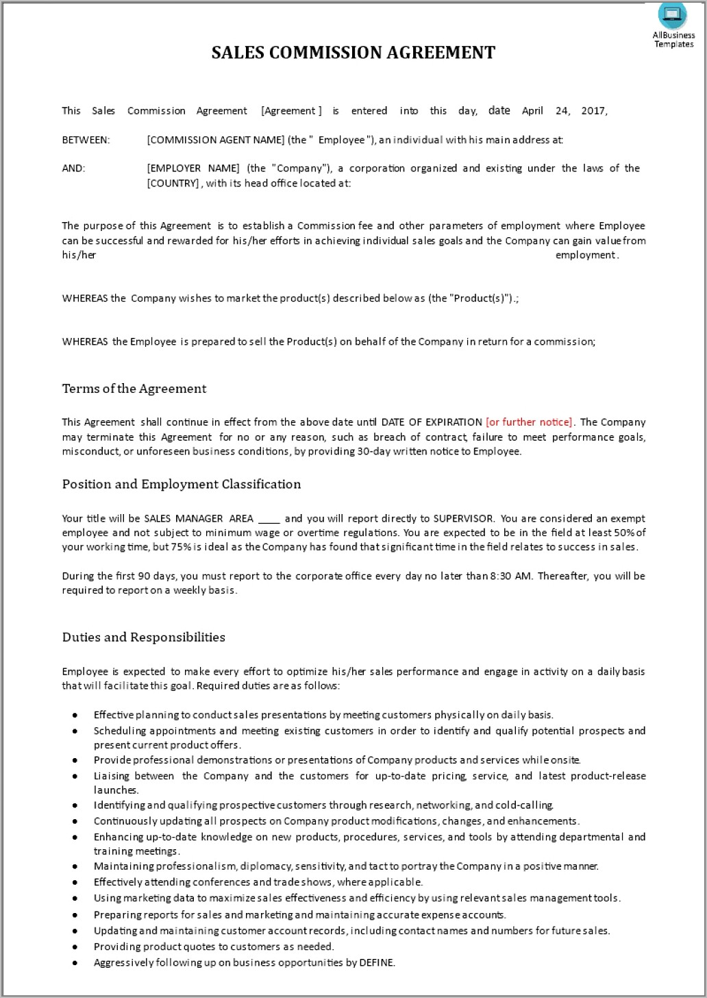 Sales Commission Agreement Template Doc