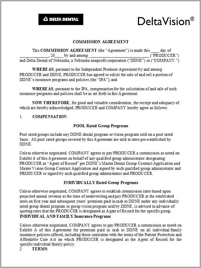 Sales Commission Agreement Template Pdf