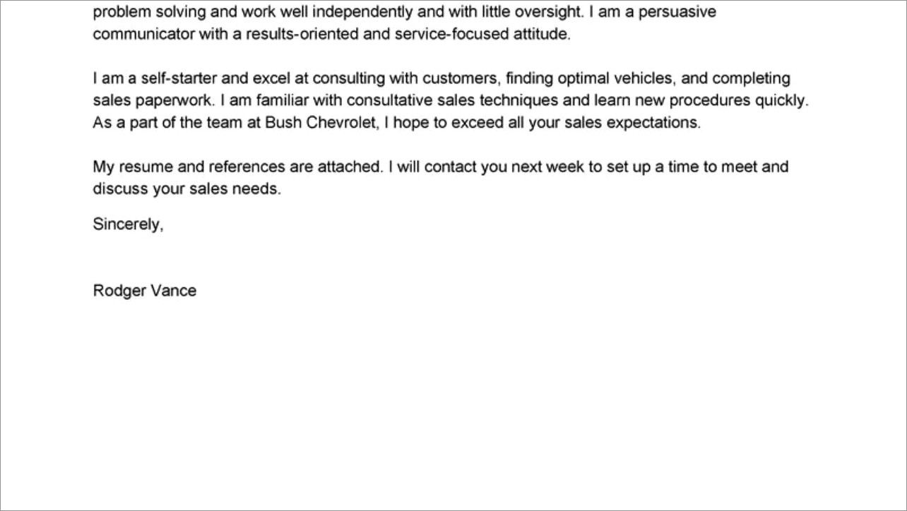 Sales Consultant Cover Letter Examples