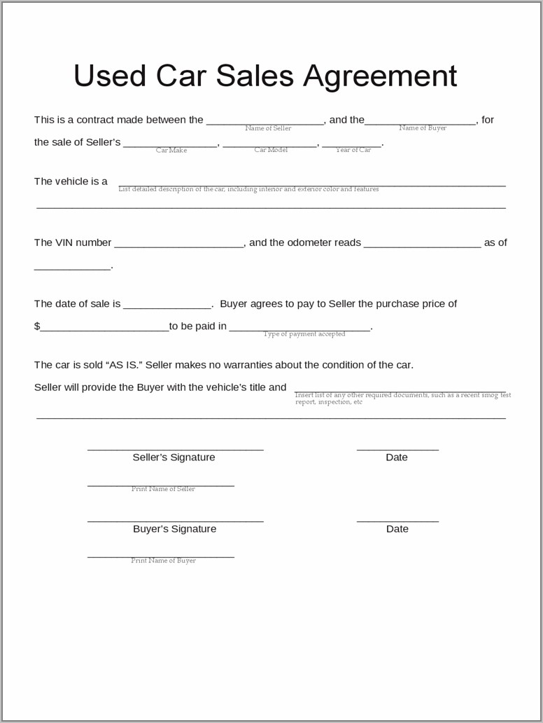 Sales Contract Template Word Free