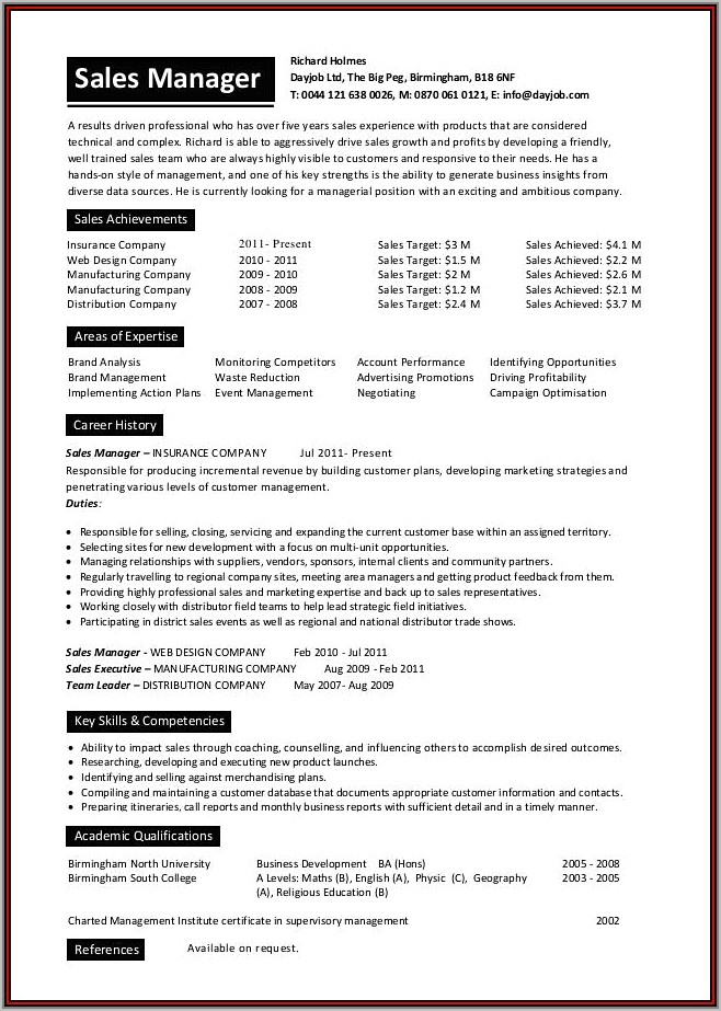 Sales Manager Resume Buzz Words