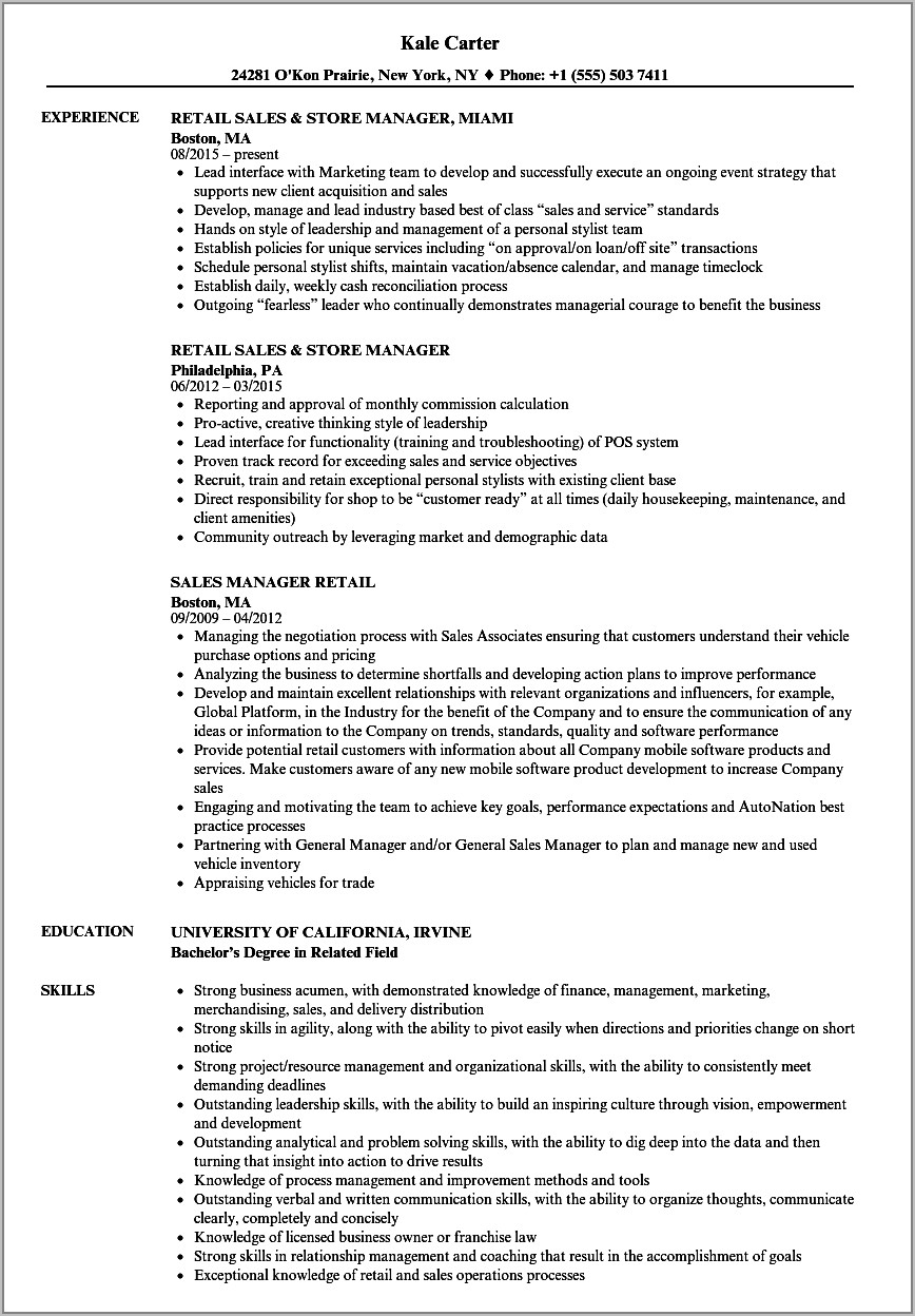 Sales Manager Resume Samples Free
