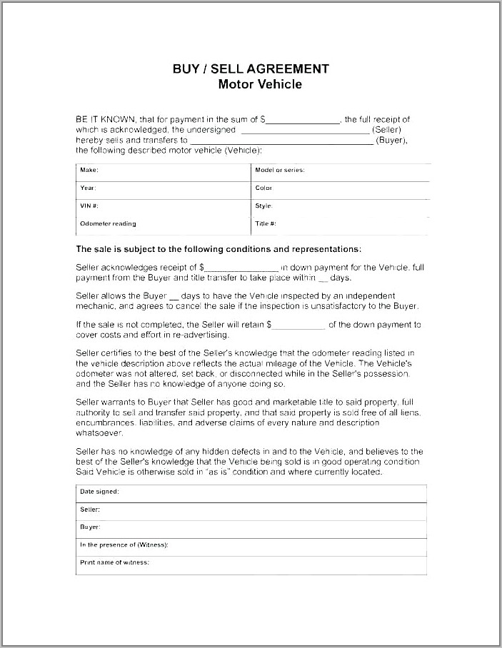 Sales Of Goods Agreement Template
