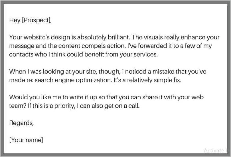 Sales Pitch Email Template