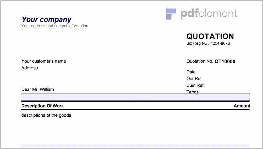 Sales Quotation Template For Mac (100)