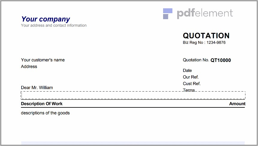 Sales Quotation Template For Mac (103)