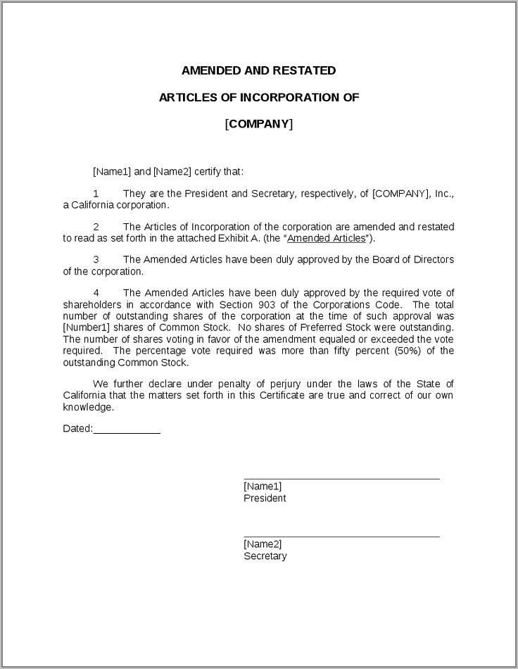 Sample Amended Articles Of Incorporation Philippines