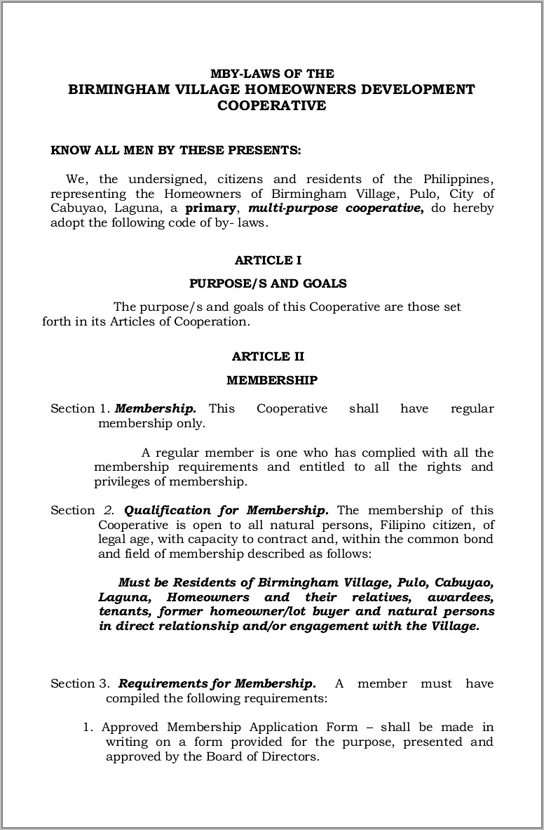 Sample Articles Of Incorporation Cooperative Philippines