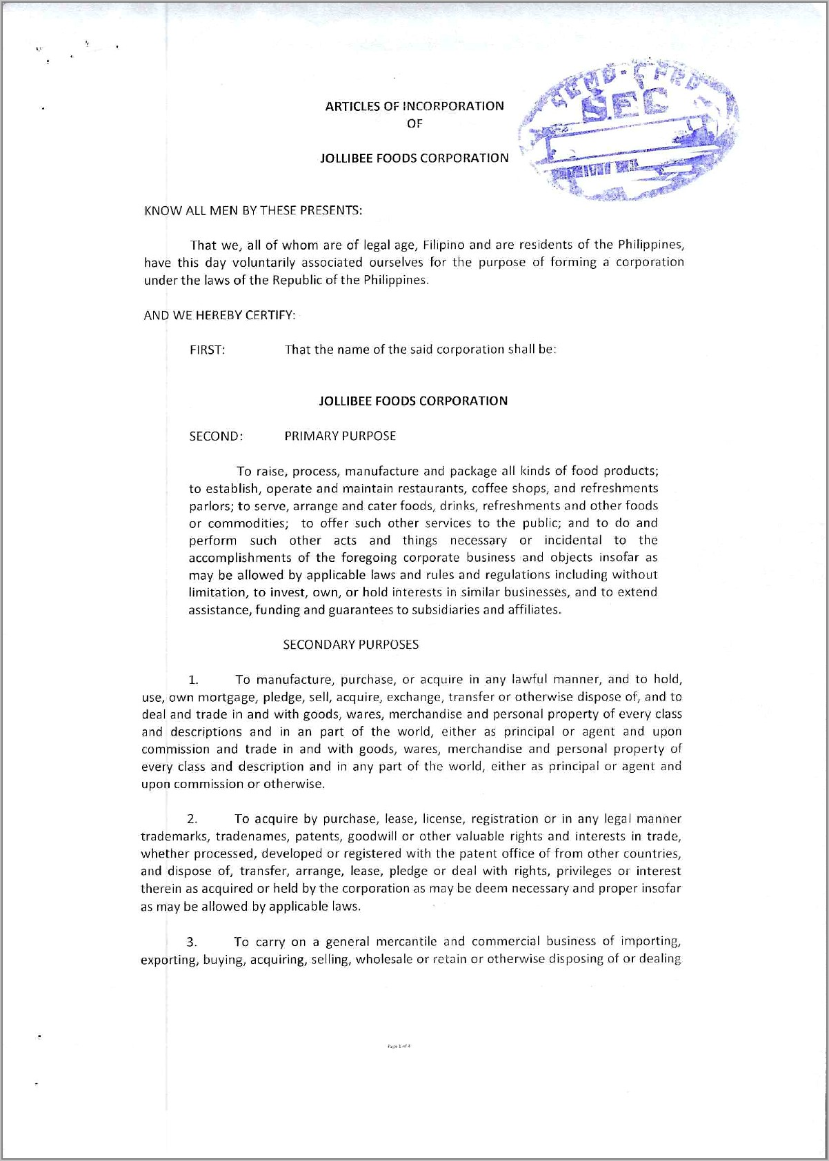 Sample Articles Of Incorporation Food Business Philippines