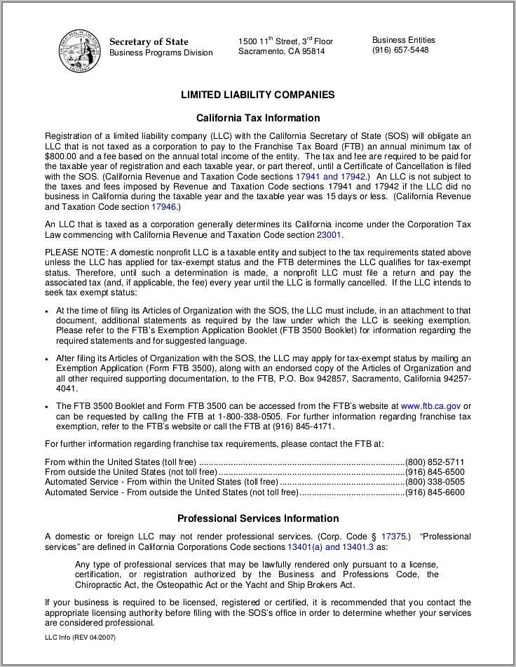Sample Articles Of Incorporation Llc