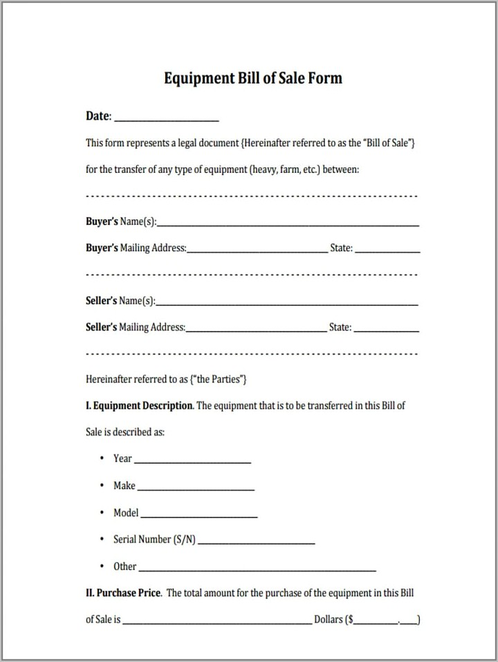 Sample Bill Of Sale For Boat Ontario