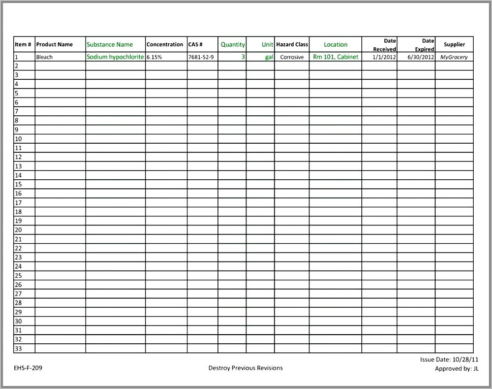 Sample Chemical Inventory Template