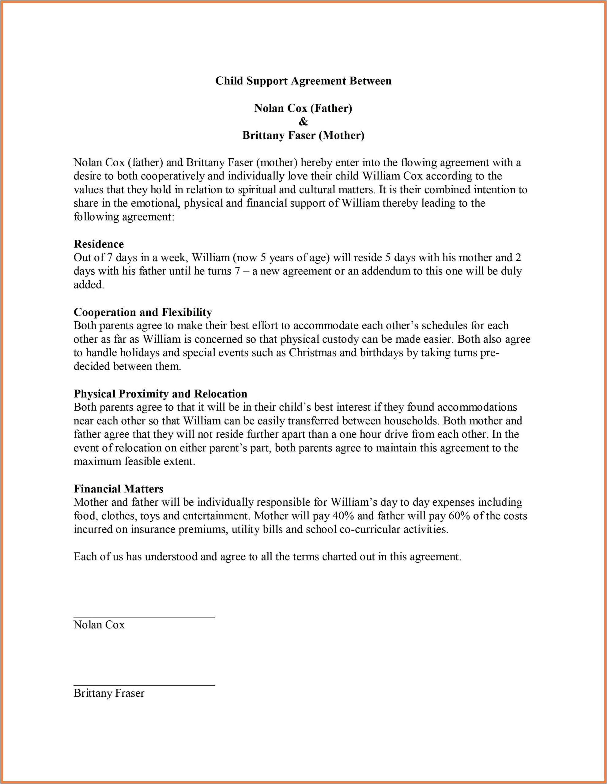 Sample Child Support Agreement Letter Template