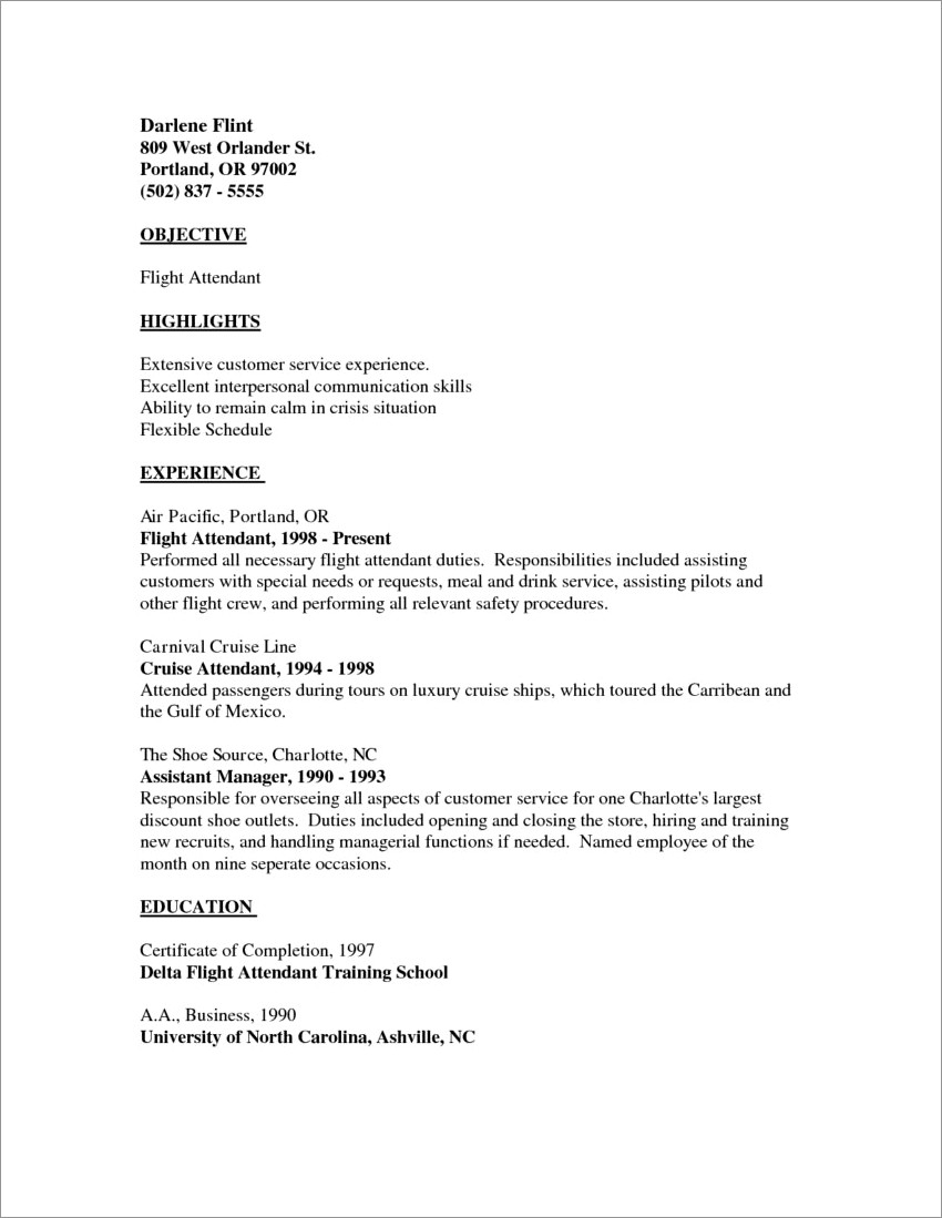 Sample Cover Letter Flight Attendant No Experience