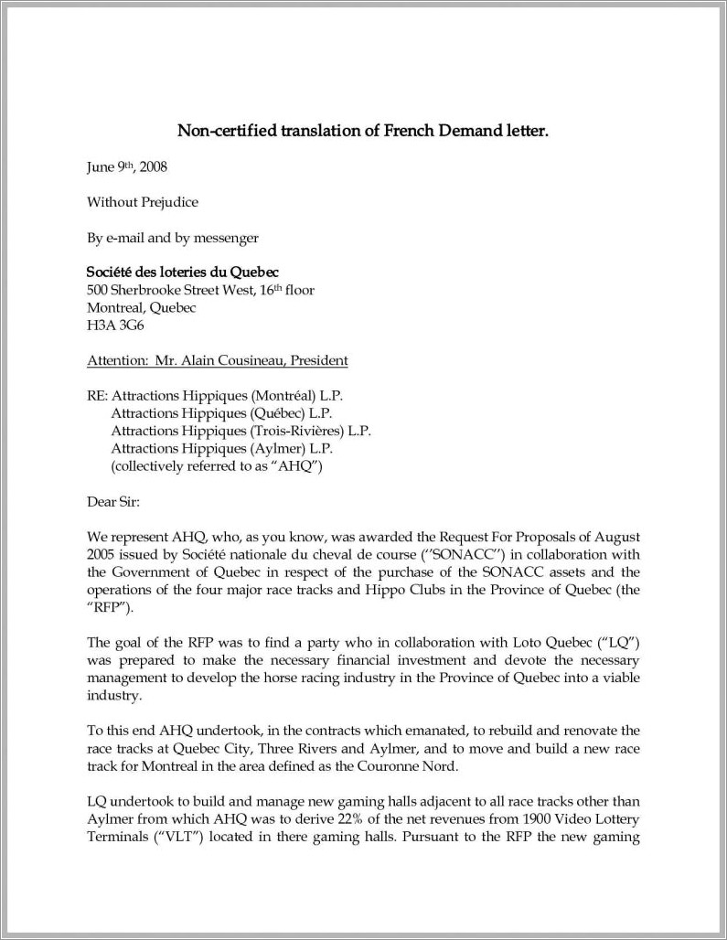 Sample Demand Letter For Wrongful Termination