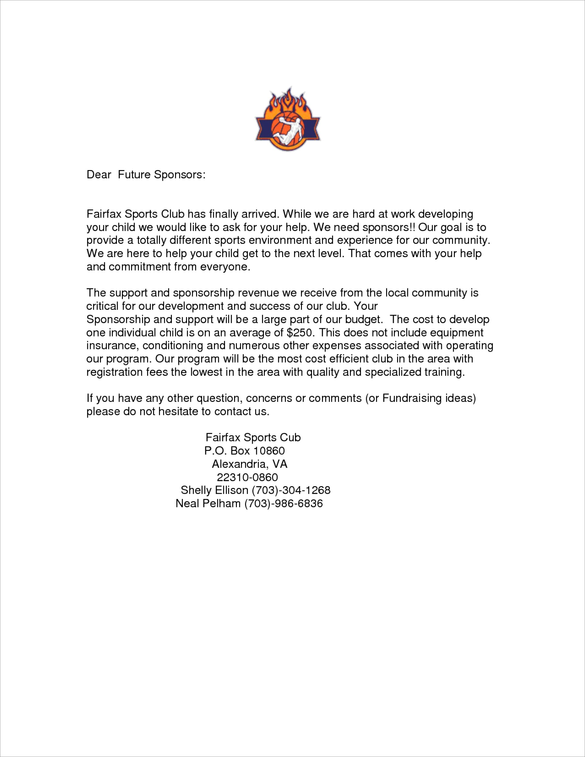 Sample Donation Request Letter For Sports Team