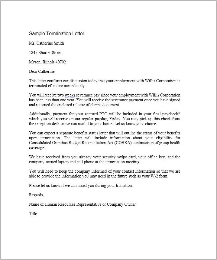 Sample Employee Contract Letter