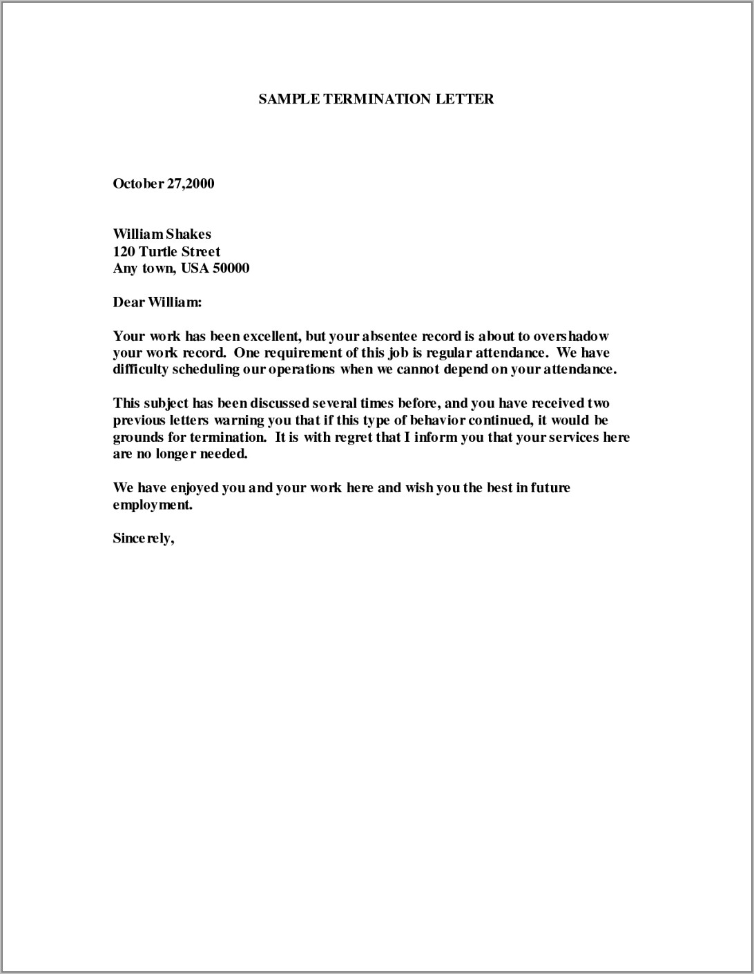 Sample Employee Contract Termination Letter