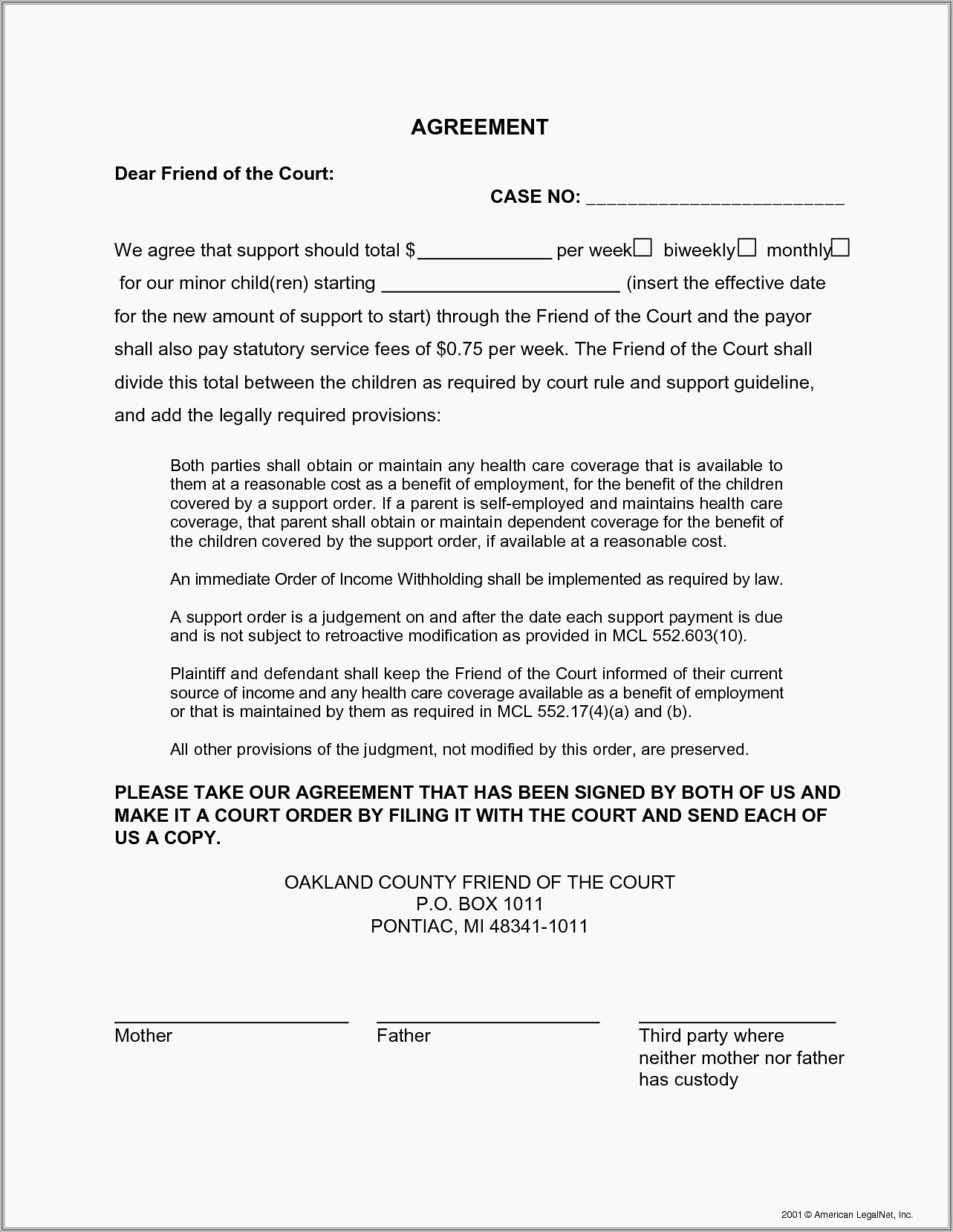 Sample Family Child Care Contract